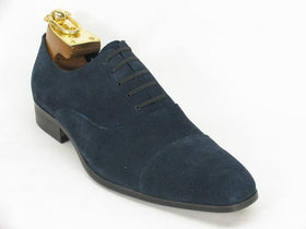 Carrucci Mens Navy Blue Suede Cap Toe Oxford Leather Dress Shoes
