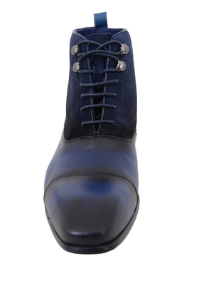 Carrucci Navy Blue Burnished Cap Toe With Suede Upper Leather Boots