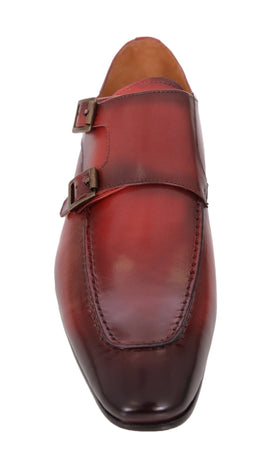 Carrucci Red With Burnished Apron Toe Double Monk Strap Leather Dress Shoes