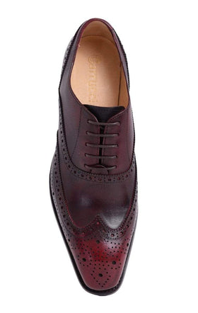 Mens Carrucci Burgundy Oxblood Wingtip Oxford Leather Dress Shoes