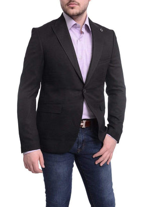 Cemden Slim Fit Black Textured One Button Blazer Sportcoat