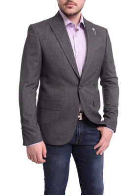 Cemden Slim Fit Charcoal Gray Twill One Button Blazer Sportcoat With Peak Lapels