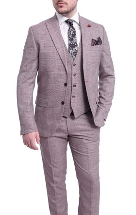 Cemden Slim Fit Burgundy Plaid Two Button Three Piece Suit