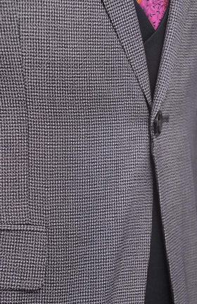 Cemden Slim Fit Blue Houndstooth Two Button Three Piece Suit With Peak Lapels