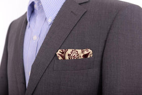 Cesare Attolini Burgundy Damask Silk Pocket Square Handmade In Italy