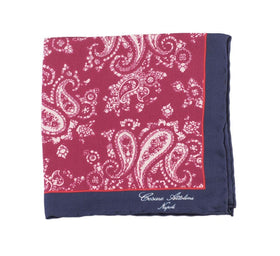 Cesare Attolini Burgundy Paisley With Blue Trim Pocket Square Handmade In Italy