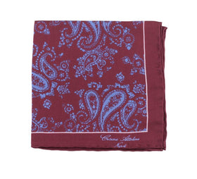 Cesare Attolini Burgundy With Blue Paisley Pocket Square Handmade In Italy