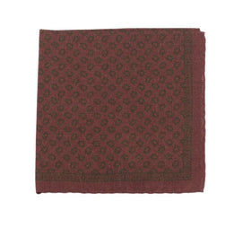 Cesare Attolini Burgundy With Green Paisley Motif Pocket Square Handmade In Italy