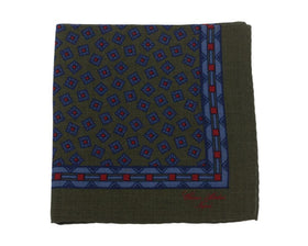 Cesare Attolini Green & Blue Square Motif Wool Pocket Square Handmade In Italy