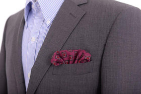 Cesare Attolini Maroon & Pink Square Motif Wool Pocket Square Handmade In Italy