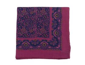 Cesare Attolini Marron & Navy Paisley Wool Blend Pocket Square Handmade In Italy