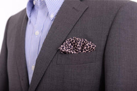 Cesare Attolini Pink & Blue Paisley Pocket Square Handmade In Italy