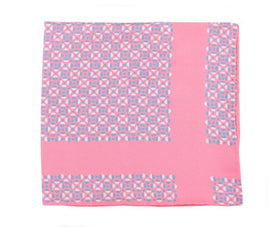 Cesare Attolini Pink Geometric Circle Motif Silk Pocket Square Handmade In Italy