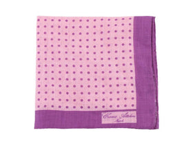 Cesare Attolini Pink With Purple Polka Dot Linen Pocket Square Handmade In Italy