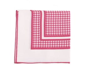 Cesare Attolini Raspberry Houndstooth Pocket Square Handmade In Italy