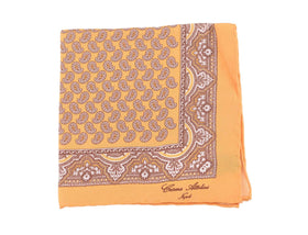 Cesare Attolini Yellow & Brown Paisley Motif Pocket Square Handmade In Italy