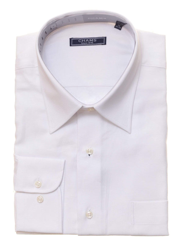Chams SHIRTS 14 1/2 32/33 Chams Classic Fit Solid White Fine Combed Cotton Dress Shirt