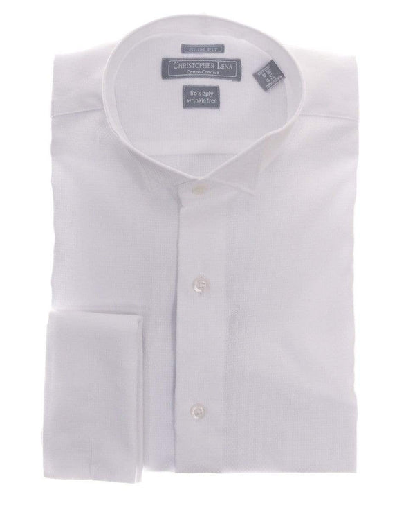 Christopher Lena SHIRTS Slim Fit White Textured Wingtip Collar Wrinkle Free Cotton Tuxedo Dress Shirt
