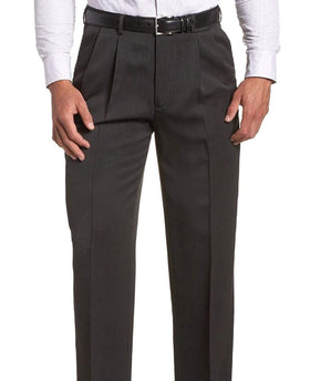 Club Room Regular Fit Solid Charcoal Gray Double Pleated Wool Dress Pants