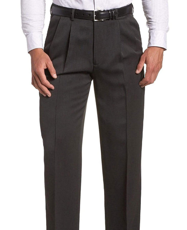 Club Room PANTS 34X32 Club Room Regular Fit Solid Charcoal Gray Double Pleated Wool Dress Pants