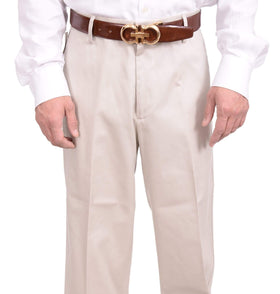 Dockers Classic Fit Solid Stone Khaki Flat Front Cotton Washable Casual Pants