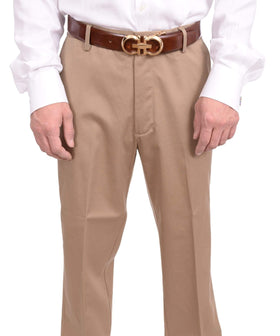 Dockers Regular Fit Solid Beige Khakis Flat Front Cotton Washable Casual Pants