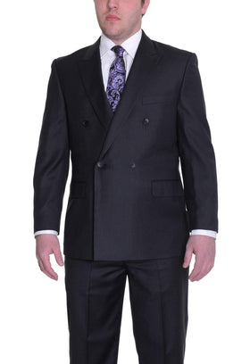 Effetti Classic Fit Black Pinstriped Double Breasted Wool Blend Suit