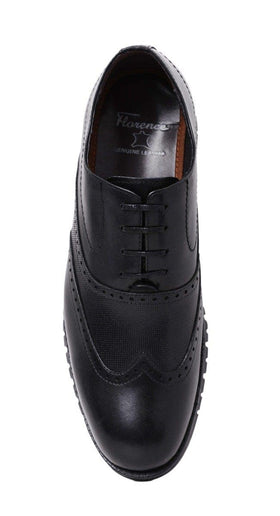 Florance Men's Solid Black With Broguing Oxfords Lace Up Leather Shoes