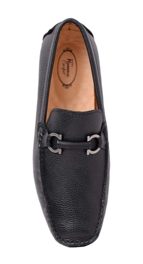 Florence Mens Solid Black Slip On Loafer Leather Dress Shoes