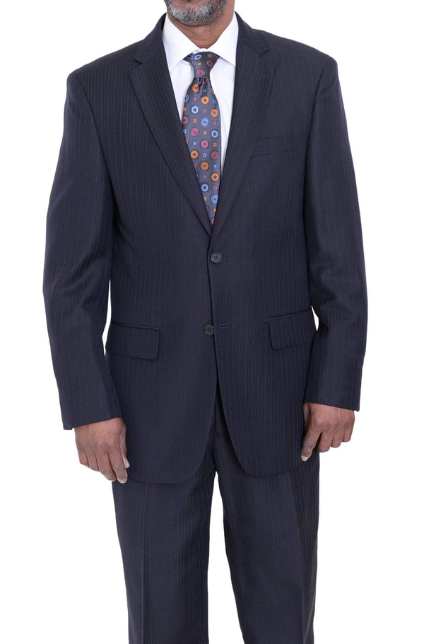 Giorgio Forelli Sale Suits 36S Mens Black Striped Two Button Suit With Flat Front Pants