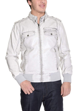 Guess Solid White Faux Leather Jacket Coat