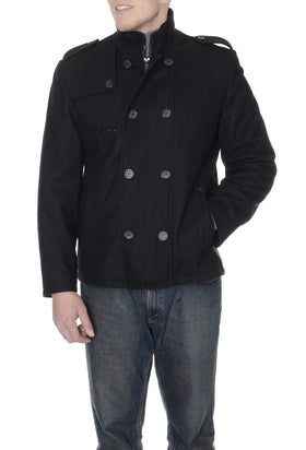 Guess Solid Black Double Breasted Wool Blend Car Coat With Ribbed Collar