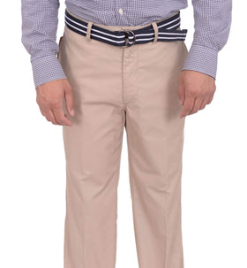 Haggar Regular Fit Solid Beige Flat Front Washable Chino Cotton Blend Pants