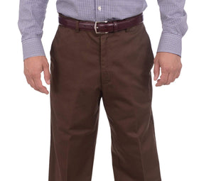 Haggar Mens Classic Fit Solid Brown Flat Front Non Iron Cotton Khaki Pants