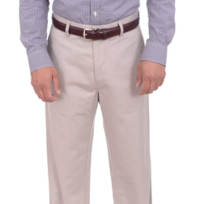 Haggar Straight Fit Solid Beige Khaki Flat Front Washable Cotton Chino Pants