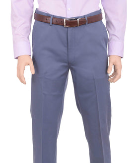 Haggar Mens Straight Fit Solid Blue Non Iron Washable Cotton Casual Khaki Pants
