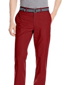 Haggar Solid Red Lightweight Washable Cotton Blend Casual Pants Slacks