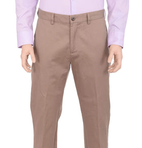 Haggar Mens Straight Fit Solid Taupe Flat Front Non Iron Cotton Chino Pants