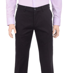 Haggar Straight Fit Solid Black Flat Front Washable Cotton Chino Pants