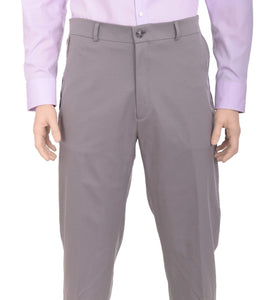 Haggar Straight Fit Solid Gray Comfort Waist Flat Front Washable Dress Pants