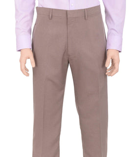 Haggar Regular Fit Taupe Textured Flat Front Comfort Waist Dress Pants