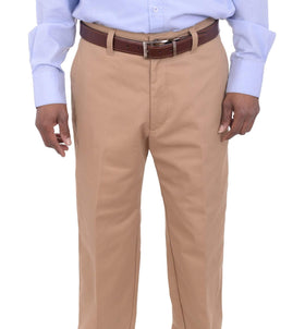 Haggar Regular Fit Solid Beige Khaki Chinos Flat Front Washable Cotton Pants