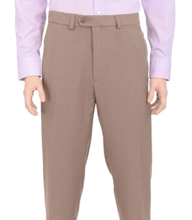 Haggar Regular Fit Taupe Textured Flat Front Comfort Waist Washable Dress Pants