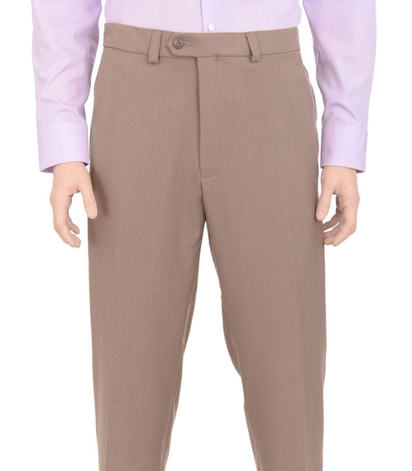 Haggar Sale Pants Haggar Regular Fit Taupe Textured Flat Front Comfort Waist Washable Dress Pants