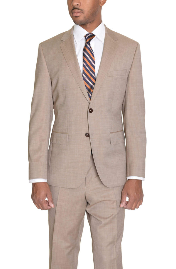 HUGO BOSS TWO PIECE SUITS 36S Hugo Boss The Keys12/Shaft2 Slim Fit 42R Tan Textured Super 120's Wool Suit