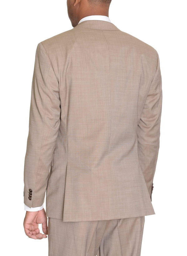 HUGO BOSS TWO PIECE SUITS Hugo Boss The Keys12/Shaft2 Slim Fit 42R Tan Textured Super 120's Wool Suit