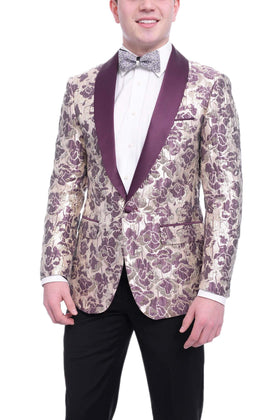 Insomnia Slim Fit Gold And Burgundy Floral Tuxedo Jacket Satin Shawl Lapels