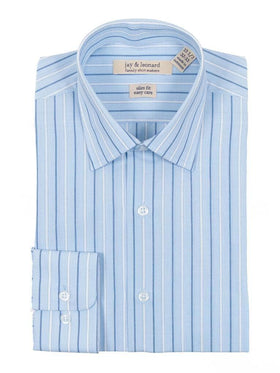 Slim Fit Blue & White Striped Easy Care Cotton Dress Shirt