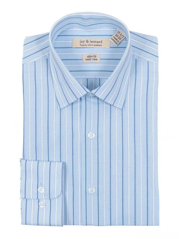 Slim Fit Blue & White Striped Easy Care Cotton Dress Shirt - The Suit Depot