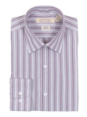 Slim Fit Burgandy & White Striped Easy Care Cotton Dress Shirt